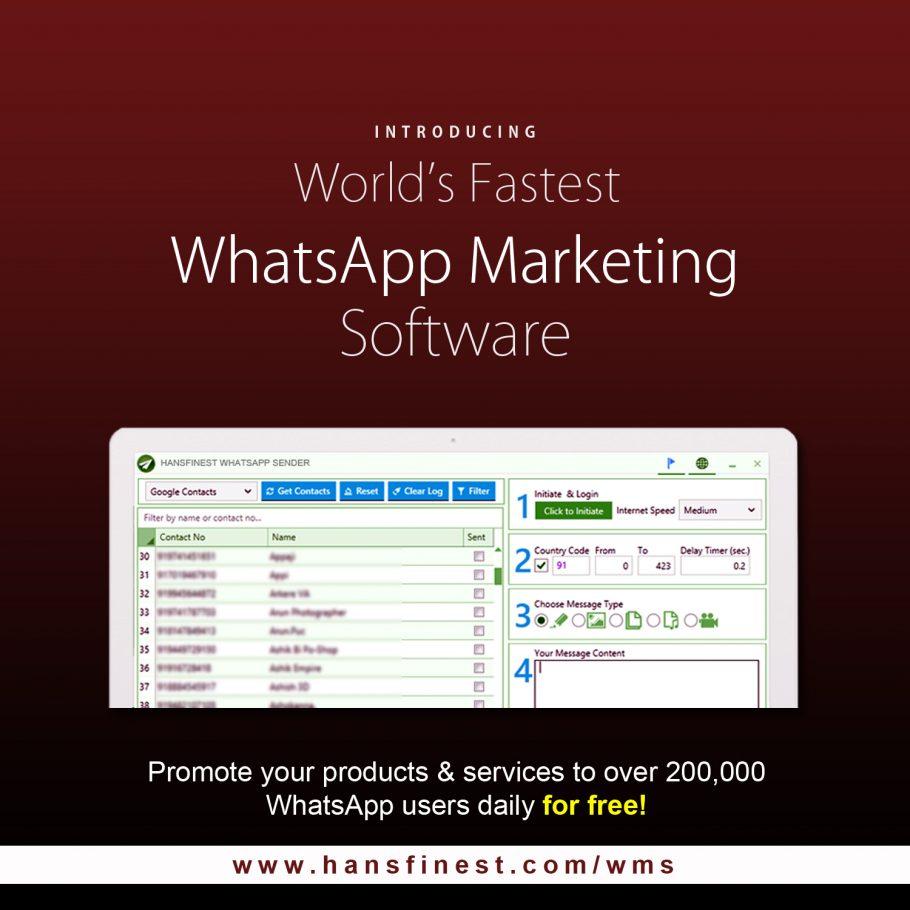 WhatsApp Marketing tools for Business using WhatsApp Bulk Sender Software