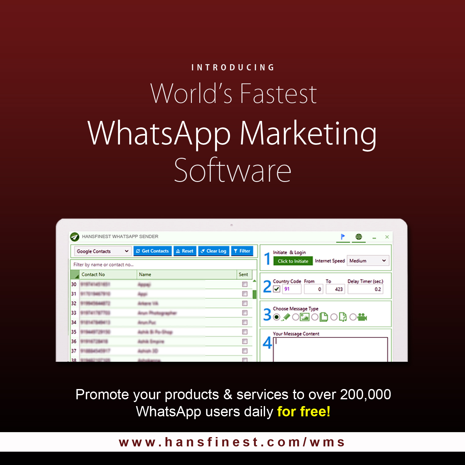 WhatsApp Marketing tool for WhatsApp Mass Sender Software